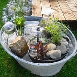 Mini teich eine zinkwanne wird zum wassergarten for Wohnung dekorieren app