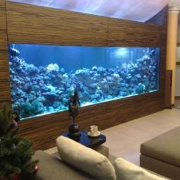 ... Aquarium Eingebaut Schrank Wohnzimmer Blae Lampen ...