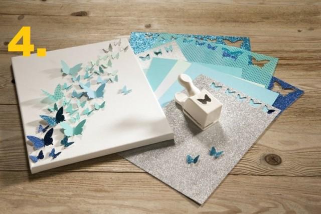 Keilrahmen gestalten 3d design schmetterlinge stanzen papier blau.jpg