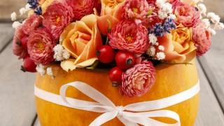 Bouquet of flowers in pumpkin