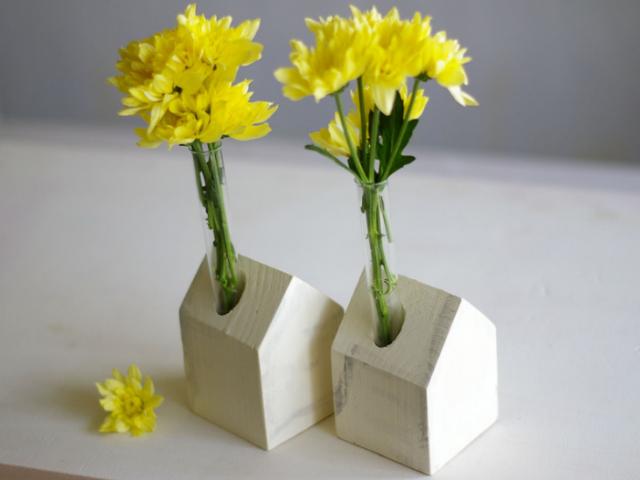 weiß Holzhäuser Vase Blumenvase