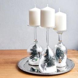 Weingläser Dekorieren kerzenständer aus weinglas tolle tipps für winter deko