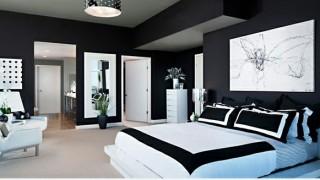Schlafzimmer ideen in schwarz weiss stilvoll bett dekoration wandart1.jpg