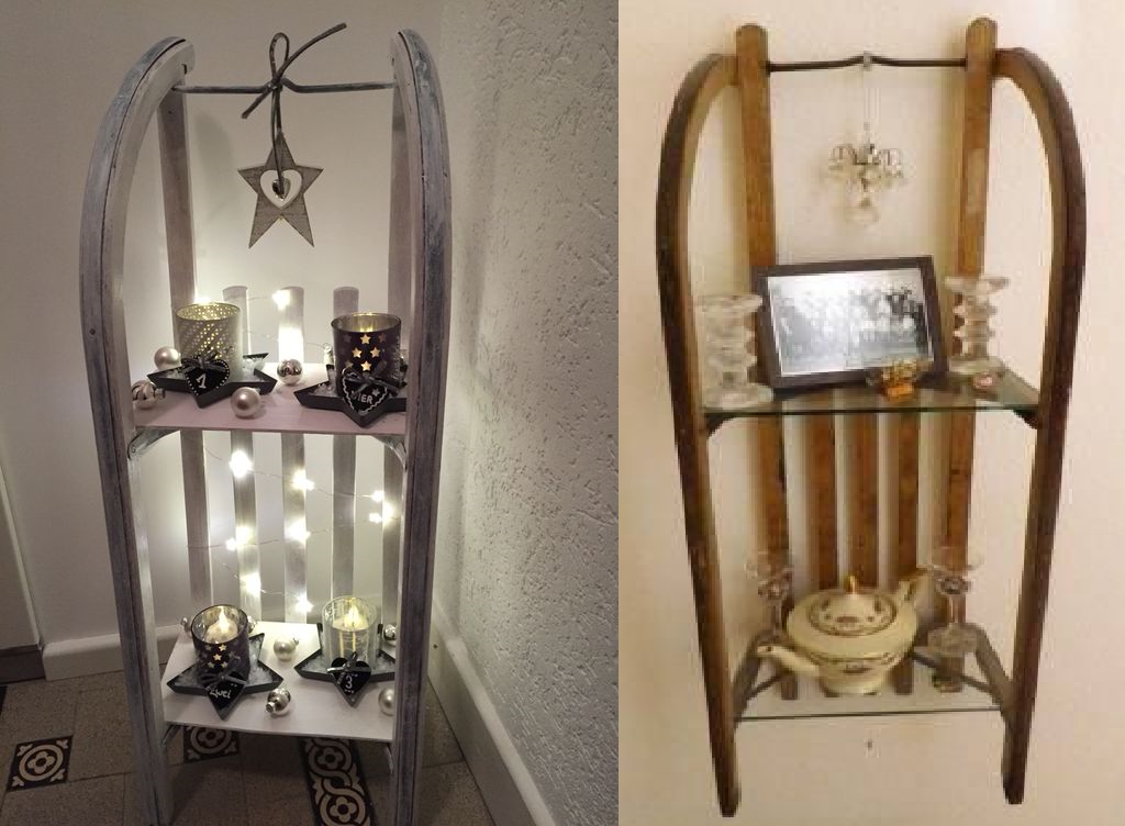 regal mit einem alten schlitten bauen. Black Bedroom Furniture Sets. Home Design Ideas