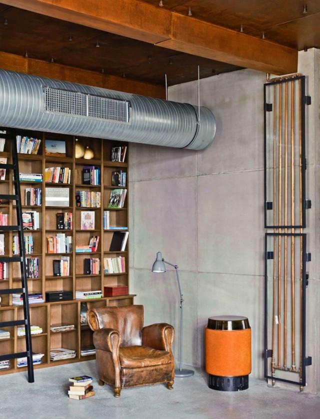 Einrichtungsideen Wohnen Roehre Blech Industrieller Stil Bibliothek  Ledersessel