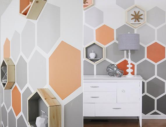 Wand Streichen Muster Selber Machen : originelle sechseck wandgestaltung ~ Watch28wear.com Haus und Dekorationen