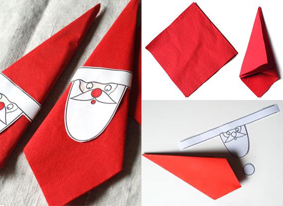 Servietten Falten Zu Weihnachten Schnelle Faltidee Fuer Weihnachtsmann  Servietten