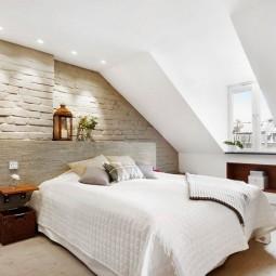 Dachschraege Ideen Schlafzimmer Wandgestaltung Ziegeloptik Bett Kopfteil