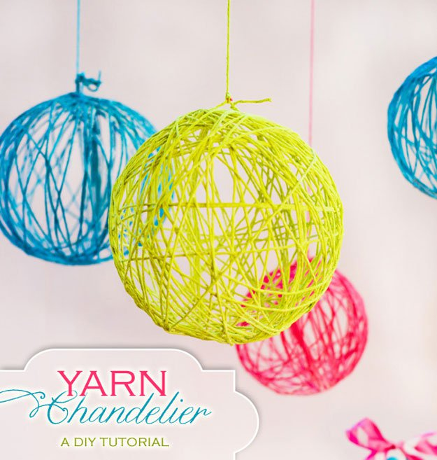 Easy Diy Teen Room Decor Ideas For Girls Diy Yarn Chandelier1 1