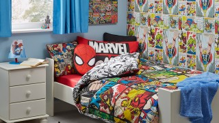 Grey rug small cupboard white varnished marvel kids room wooden blue fabric blinds amazing themed cartoon decorative.jpg