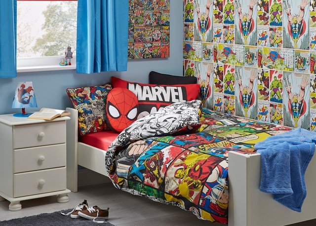 cool marvel kinderzimmer. Black Bedroom Furniture Sets. Home Design Ideas