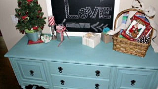Annie sloan chalk paint provence blue buffet with orginial hardware in black gloss see full makeover tips at fresh idea studio.jpg
