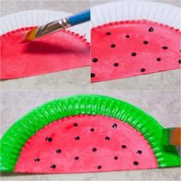 Bastelideen kinder wassermelone pappteller bemalen faecher.jpg