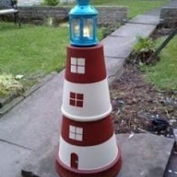 Leuchtturm basteln aus tont pfen dansenfeesten - Gartendeko aus tontopfen ...