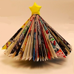 Create a unique christmas tree out of magazines.jpg