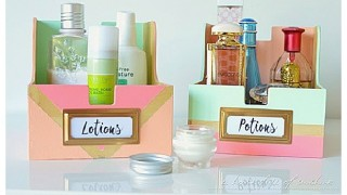 Diy bathroo organization ideas upcycle old cd storage boxes into cute toiletry holders for the bathroom do it yourself project tutorial via i heart organizing.jpg
