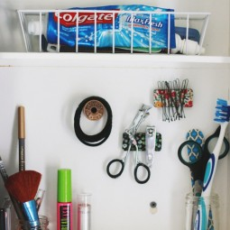 Diy bathroom organization ideas create pretty do it yourself magnets to organize the small metal items inside of your medicine cabinet step by step tutorial via the merr.jpg