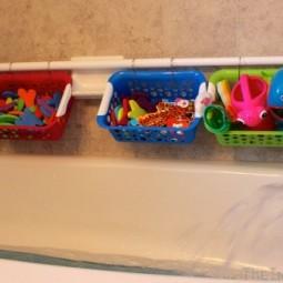 Diy bathroom organization ideas easy and cheap bathtub toy organization idea and tutorial via the inspired home.jpg