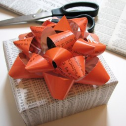 Make gift bows from a magazine page for birthday or holiday presents.jpg