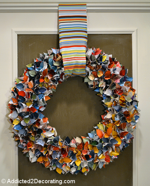 Use colorful pages of magazines to make this upcycled magazine wreath.jpg
