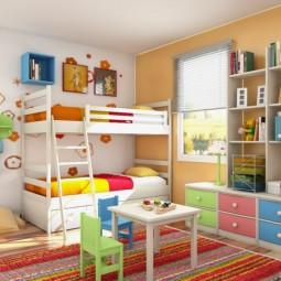 Das kinderzimmer interior mit leuchtenden farben erfrischen teppich.jpg