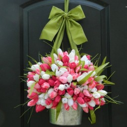 Gorgeous spring door decoration with colorful tulips in a galvanized metal planter 1.jpg