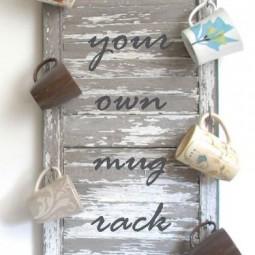 Make a wall size mug rack out of old shutter.jpg