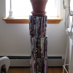 Repurpose some old magazines into a plant stand.jpg