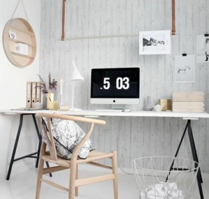 Schreibtisch selber bauen diy ideen weisse holzplatte schwarze metallene beine resized 410x390.jpg