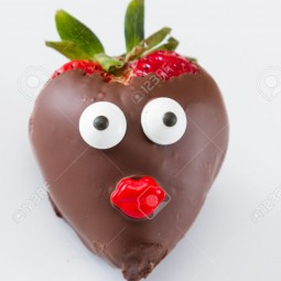Strawberry with a face