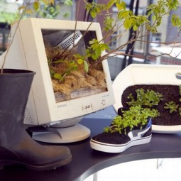 Diy planters upcycling project old pc monitor shoe boot sink.jpg
