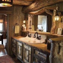 Interessante Ideen für rustikale Badezimmer aus Holz und ...