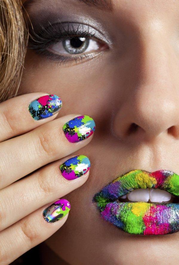Nagellack design trend 2014 farbenfrohe farbspritzer gelnaegel lippenstift 1.jpeg