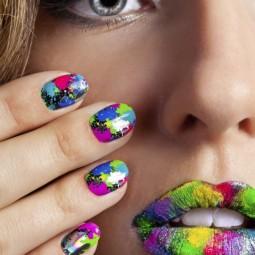 Nagellack design trend 2014 farbenfrohe farbspritzer gelnaegel lippenstift.jpeg
