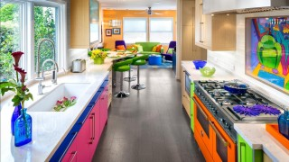 Colorful kitchen with orange range mixes colored cabinets with rift cut white oak popular kitchens col.jpg