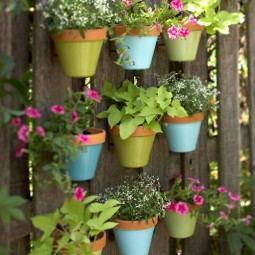 Make a vertical garden with small planters mounted on a fence.jpg