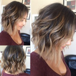 Pretty curly lob haircuts 2017 balayage highlights 1.jpg