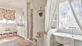 Stained concrete bathroom bathroom shabby chic style with floral window shades oval bathtubs 1.jpg