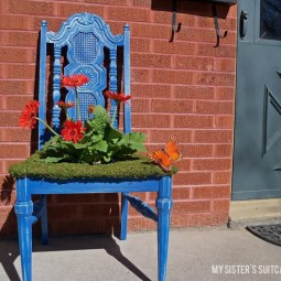 Use old wooden chairs to make some adorable planters for your yard.jpg
