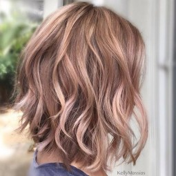 Wavy layered medium hairstyles with rose gold brown hair shoulder length hair cuts 2017 1.jpg