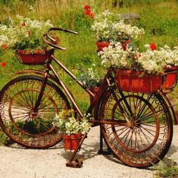 Altes fahrrad im garten for Billige gartendekoration