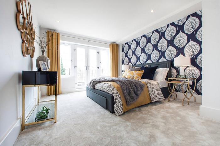 attraktive wandgestaltung hinter dem bett. Black Bedroom Furniture Sets. Home Design Ideas