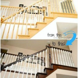 16. update your oak banisters with paint and stain. 14. use rust oleum to paint outdated brass faucets and fixtures 27 easy remodeling projects that will completely transform your home 1.jpg