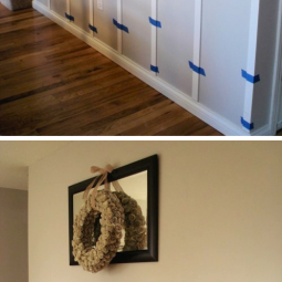 17. diy wainscoting with strips of wood. 14. use rust oleum to paint outdated brass faucets and fixtures 27 easy remodeling projects that will completely transform your home .png