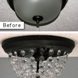 9. turn a dome ceiling light into a crystal flushmount pottery barn inspired. 27 easy remodeling projects that will completely transform your home.jpg