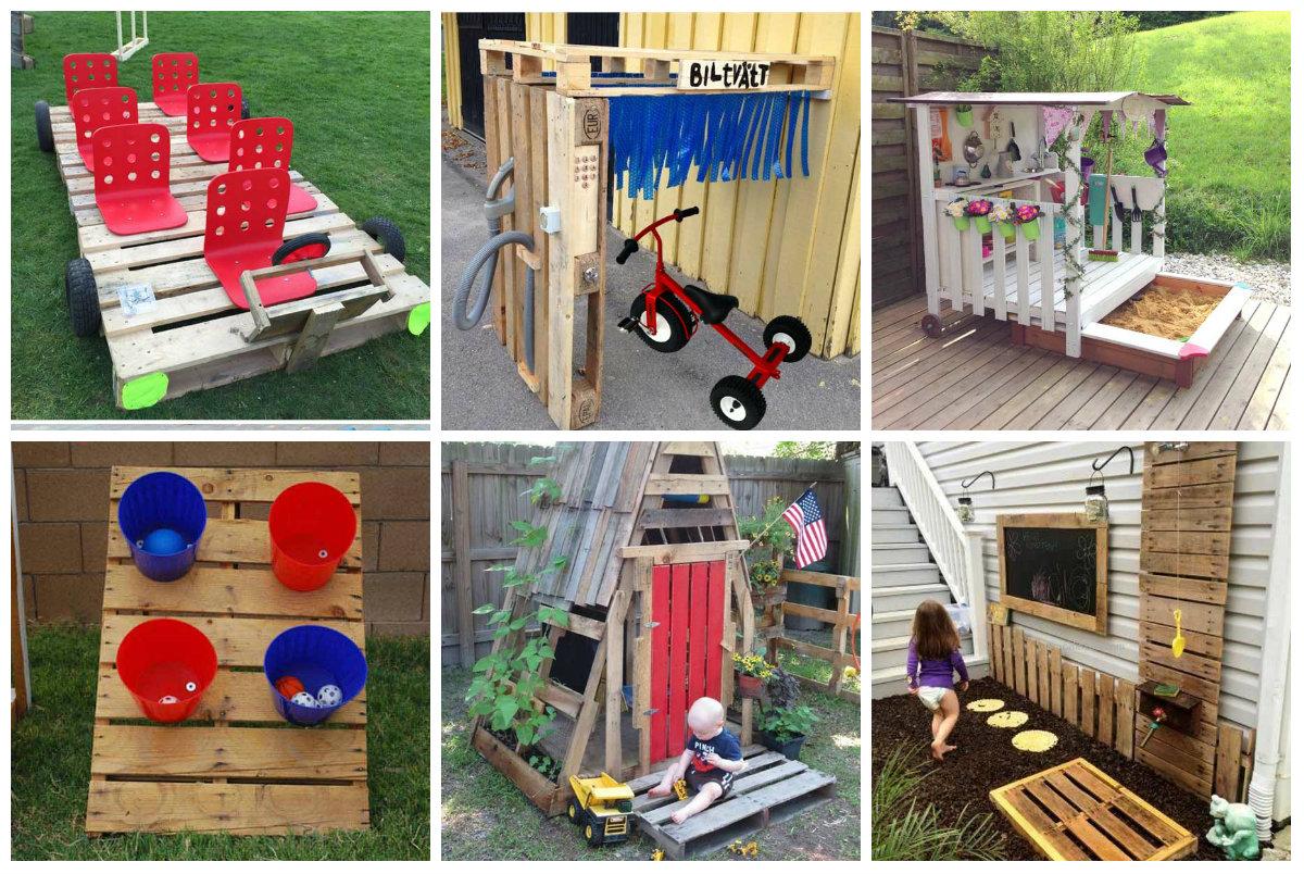 diy kinderspielplatz im freien aus paletten. Black Bedroom Furniture Sets. Home Design Ideas