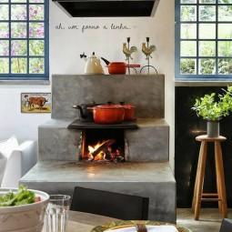 holzofen in der k che. Black Bedroom Furniture Sets. Home Design Ideas