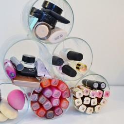 Repurpose old candle jars into a makeup organizer.jpg
