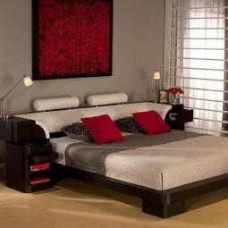 schlaf und wohnzimmer mit roten tonen gestalten. Black Bedroom Furniture Sets. Home Design Ideas