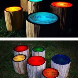Log stools painted with glow in the dark paint.jpg